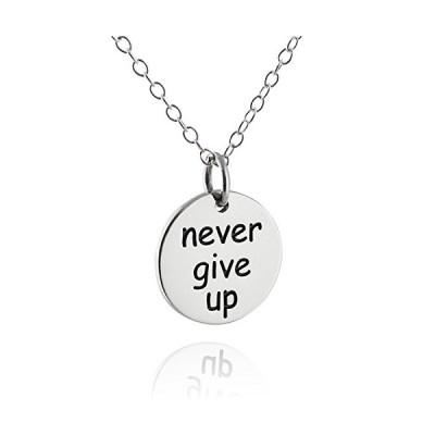 """スターリング シルバー Never Give Up チャーム ペンダント ネックレス, 18"""" チェーン(海外取寄せ品)"""
