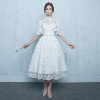 ウェディングドレス レースドレス パーティードレス 花嫁ドレス ミモレ丈ドレス ホワイト