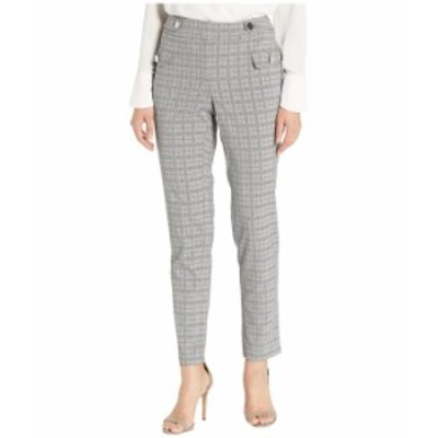 カルバンクライン レディース カジュアルパンツ ボトムス Plaid Straight Pants with Buttons Light Grey Glen Plaid