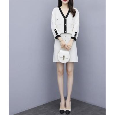 大人の魅力高まる 手触り良い 韓国ファッション CHIC気質 大人気 おしゃれな 新品 減齢 レトロ カーディガン ミニスカート ニット 2点セット
