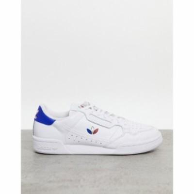 アディダス adidas Originals メンズ スニーカー シューズ・靴 Continental 80 Trainers In White With Tricolor Trefoil ホワイト