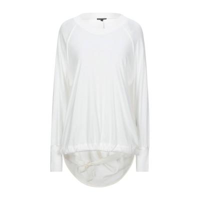 アン ドゥムルメステール ANN DEMEULEMEESTER T シャツ ホワイト 40 コットン 100% / カシミヤ T シャツ