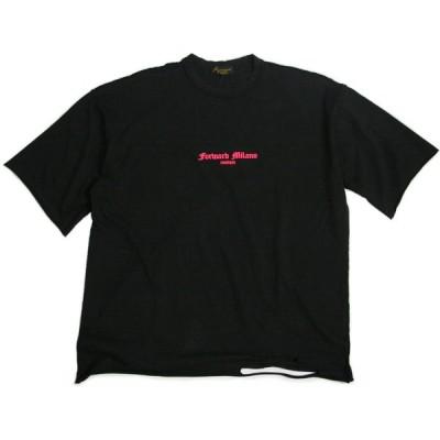 フォワードミラノ Forward MILANO メンズ OVER STRIPS クルーネック 半袖 Tシャツ ロゴ カットソー トップス ブラック×ピンク イタリア T-shirt