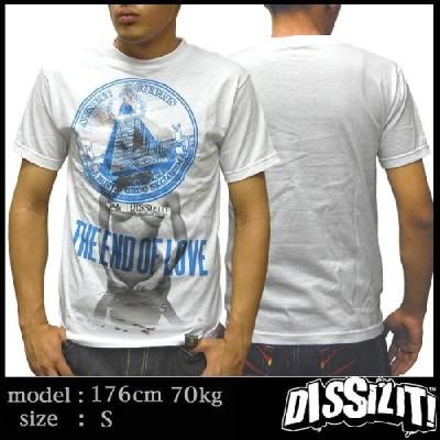 【15%OFF】 DISSIZIT ディスイズイット メンズ Tシャツ THE END OF LOVE ホワイト ブルー ストリート ファッション HIPHOP ブランド ヒップホップ B系 スタイル
