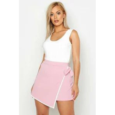 Boohoo レディーススカート Boohoo Plus Tie Side Asymetric Skort blush