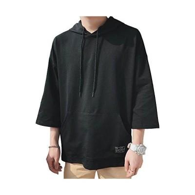 メンズ Tシャツ ファッション 七分袖 ゆったり パーカー 無地 軽い スポーツ かっこいいファッション 薄手 夏