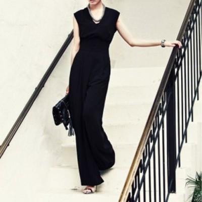 パンツドレス かっこいいパンツドレス パーティードレス パンツ オールインワン ワイドパンツノースリーブ 体型カバー 大きいサイズ
