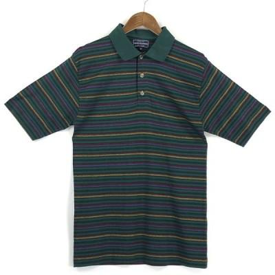 古着 ANDREWS & ANDREWS ボーダーポロシャツ レトロ スムース素材 グリーン系 メンズS 中古 n024992
