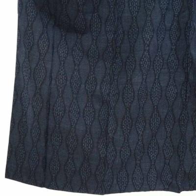 リサイクル着物 紬 正絹紺地立涌柄袷真綿紬着物