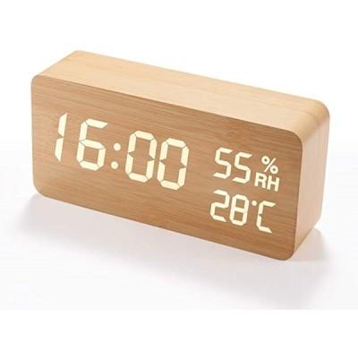 目覚まし時計 木製 大音量 デジタル 置き時計 温度湿度計(木目調)