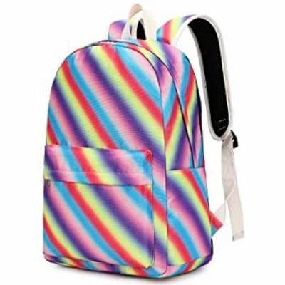 Girls Backpack Teen School Book Bag Light Weight Kids Travel Rucksack Rainbow Daypacks (Twill rainbow1-0878)