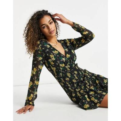 テルーラ レディース ワンピース トップス Talulah Stardust floral mini dress in black multi Prosecco floral