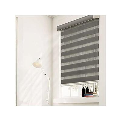Chicology 自在留めコードレスジブラローラーシェイド 二層コンビ窓用ブラインド、幅20インチ X 高さ72インチ、ストライプカーキ(二層) 2
