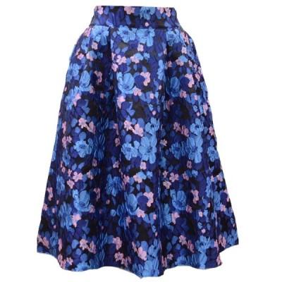 花柄ジャカードタックフレアスカート(ブルー)( スカート  ひざ丈 膝丈 台形  ミモレ丈 春 )