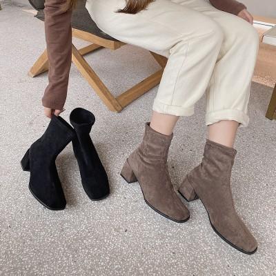 ショートブーツ レディース 靴 ヒール3.5cm スクエアトゥ ブーティー 太めヒール マーティンシューズ 歩きやすい 秋冬 カジュアル おしゃれ 韓国ファッション