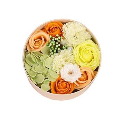 ソープフラワー バラ ギフトボックス 誕生日 記念日 母の日 父の日 先生の日 バレンタインデー 昇進 転居 プレゼント (オレンジ)