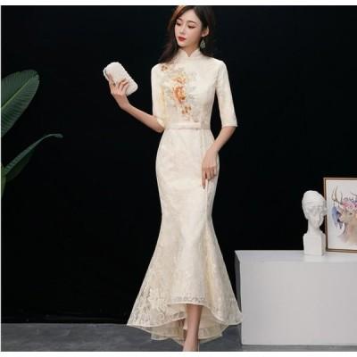 マーメイドドレス チャイナドレス 刺繍 ロング丈 ファスナー 五分袖 20代30代40代 パーティードレス 結婚式 ウェディングドレス 二次会 成人式 花嫁 ワンピース