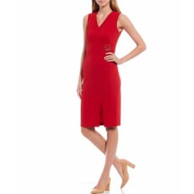 カルバンクライン レディース ワンピース トップス Sleeveless V-Neck Logo Buckle Scuba Crepe Sheath Dress Red