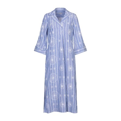 CAMICETTASNOB 7分丈ワンピース・ドレス ブルー 38 麻 55% / コットン 45% 7分丈ワンピース・ドレス