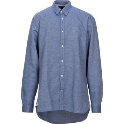 トミー ヒルフィガー TOMMY HILFIGER メンズ シャツ トップス solid color shirt Blue