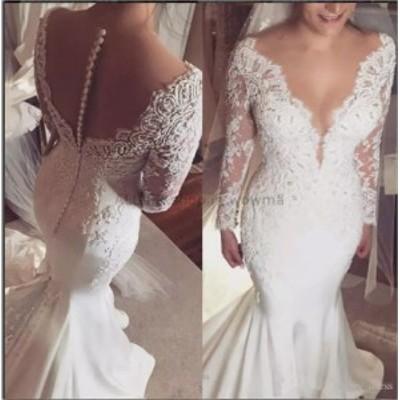 ウェディングドレス/ステージ衣装 ホワイトアイボリーレースサテンマーメイドのウェディングドレスVネック2017ロングスリーブブライダル