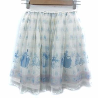 【中古】シークレットハニー × ディズニー スカート フレア チュール ひざ丈 シンデレラ 2 白 ホワイト レディース