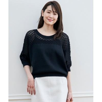 (ANAYI/アナイ)コットンギマスカシガラプルオーバー/レディース ブラック