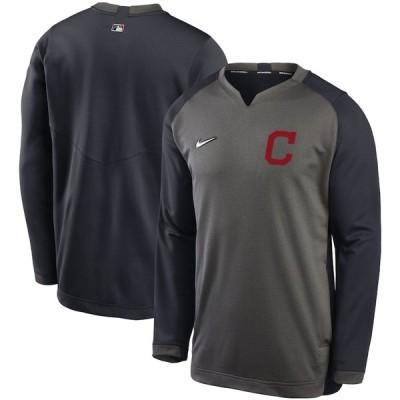 クリーブランド・インディアンス Nike Authentic Collection Thermal Crew Performance Pullover スウェットシャツ - Charcoal/Navy