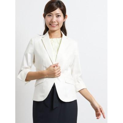 【タカキュー】 ホトフレッシュ/HOTOFRESH 1釦7分袖ジャケット 白 レディース ホワイト L TAKA-Q