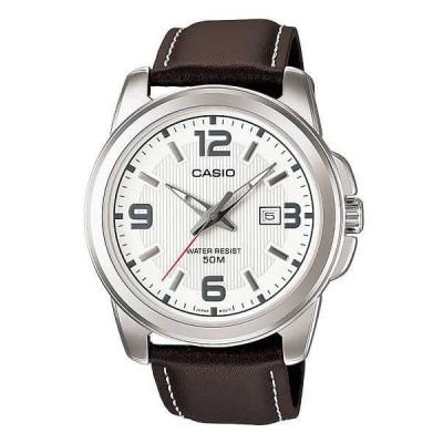 腕時計 カシオ Casio MTP1314L-7A メンズ 50M レザー ファッション ホワイト ダイヤル カジュアル アナログ 腕時計