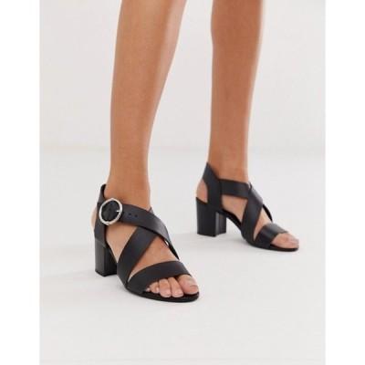 ニュールック レディース サンダル シューズ New Look cross strap block heeled sandal in black