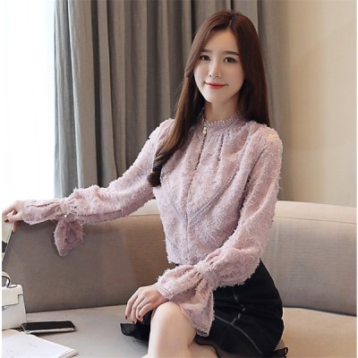 春秋新製品発売 韓国ファッション 春新 韓国語版 ウェーブサイド シフォンシャツ