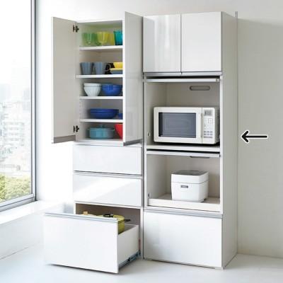 組立不要!家電を隠せるキッチン収納シリーズ レンジラック幅59.5cm ダークブラウン