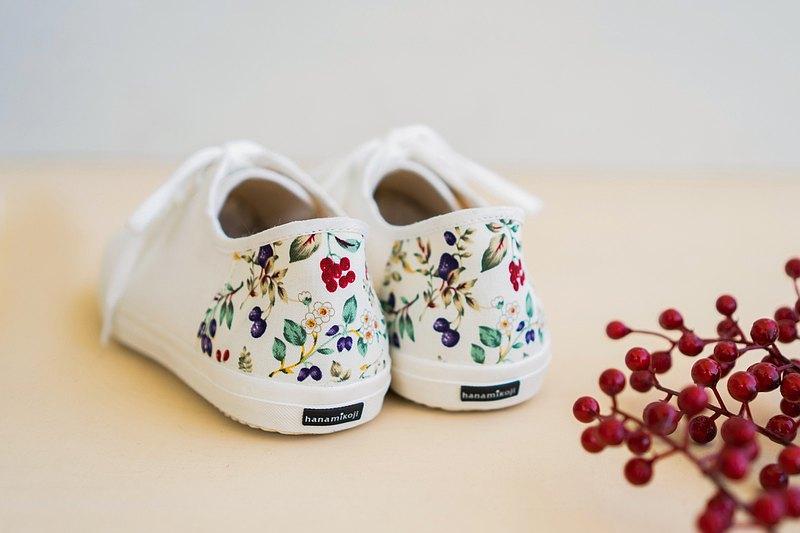 一人份的幸福 | 小白鞋.花菓物語花布.基本款.真皮鞋墊.米白色