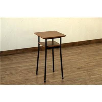 サイドテーブル/センターテーブル ウォールナット ミニタイプ 幅30cm アジャスター スチール製脚 棚板付き 『Chico』 代引不可 生活用品
