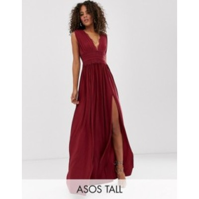 エイソス レディース ワンピース トップス ASOS DESIGN Tall Premium Lace Insert Pleated Maxi Dress Oxblood