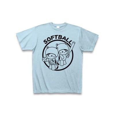 ソフトボールとねこ Tシャツ(ライトブルー)
