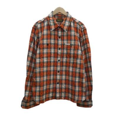 THE FLAT HEAD チェックシャツ オレンジ×ホワイト サイズ:40 (堅田店) 200821