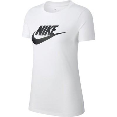 ナイキ Tシャツ トップス レディース Nike Women's Sportswear Essential Icon Futura Short Sleeve T-shirt White/Black 01