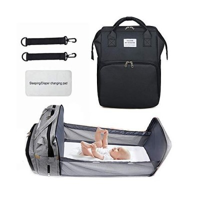 Portable Fodable Crib Diaper Bag Backpack, Waterproof Travel Bassinet Foldable Baby Bed, with Changing Station for Travel Bed Diaper Pad Str