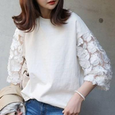 花柄刺繍シースルー袖トップス Tシャツ フラワーモチーフ ラウンドネック 七分袖 パフスリーブ 透け感 ミディアム カジュアル きれいめ