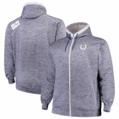 Majestic マジェスティック スポーツ用品  Majestic Indianapolis Colts Royal Big & Tall Space Dye Full-Zip Hoodie