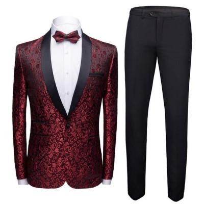 メンズタキシード2点セット紳士服スーツセットアップジャケット+パンツ2点セットおしゃれビジネススーツ結婚