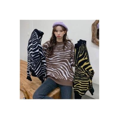 【送料無料】何でも似合う オーバーサイズ 風 手厚い セーター 秋冬 韓国風 シマウマ ルー | 364331_A63804-3693529