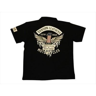 VANSON バンソン ポロシャツ NVPS-2105 刺繍&プリント フライングワン スラブ天竺生地 半袖ポロシャツ ブラック