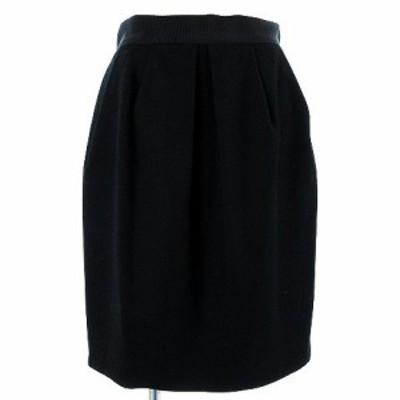 【中古】デュアルヴュー DUAL VIEW スカート ギャザースカート ひざ丈 カシミヤ混 総裏地 ブラック 黒 40 レディース