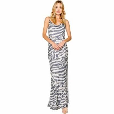 ラベンダーブラウン LAVENDER BROWN レディース ワンピース マキシ丈 ワンピース・ドレス Zebra Printed Cowl Neck Bias Maxi Dress Ivor