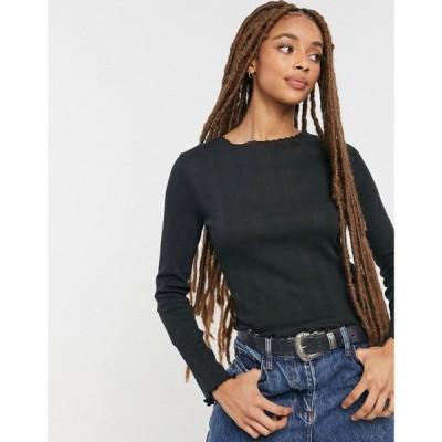 コットンオン Cotton:On レディース トップス ポインテール Pointelle Long Sleeve Top In Black ブラック