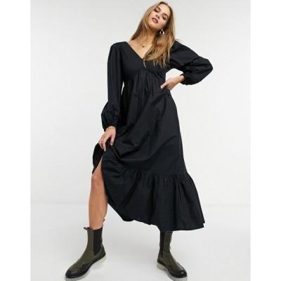 ウエアハウス レディース ワンピース トップス Warehouse long sleeve volume maxi dress in black Black