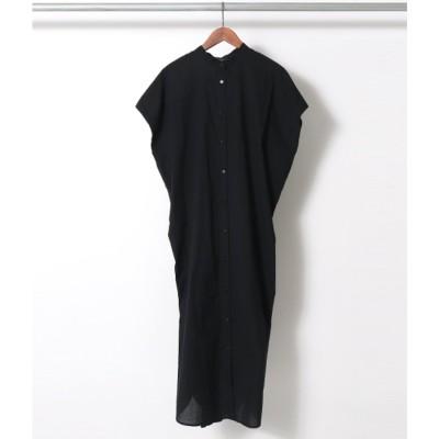 AULI タックドレープシャツワンピース(ブラック)